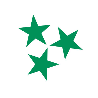 three green stars on a white background